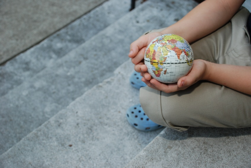 world in child's hands