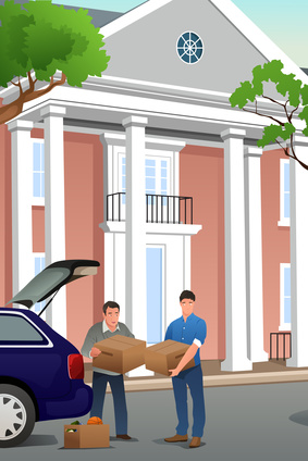 A vector illustration of father helping his teenage son moving to a new campus