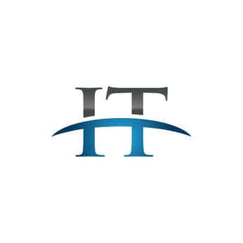 IT initial company swoosh logo blue