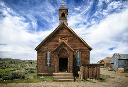 Abandoned buildings in the mining ghost two of Bodie, California.