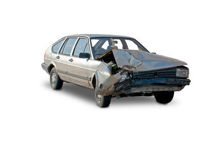 Car accident ,destroyed car - white background