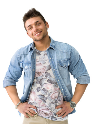 Handsome smiling young man standing with open denim shirt