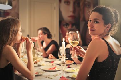 Classy girl at an elegant dinner