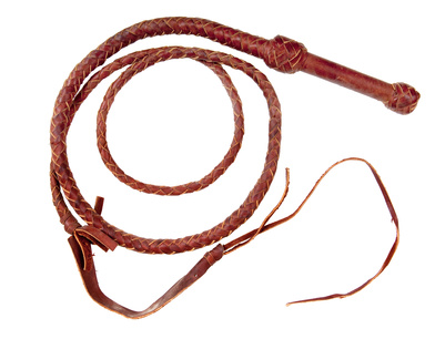 A braided leather whip
